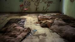 Homeless abandoned room - stock footage