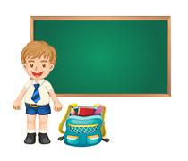 boy and green board - stock illustration