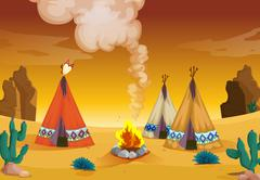 tent house and fire - stock illustration