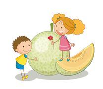 Stock Illustration of kids and vegetable fruit