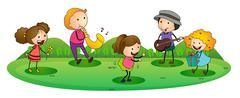 Kids playing music Stock Illustration
