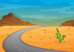 road in a desert - stock illustration
