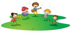 Kids enjoying music Stock Illustration