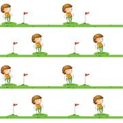 Golf playing boy - stock illustration