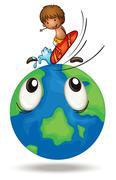 A boy surfing on earth globe Piirros
