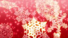 Big Christmas snowflakes loop. Red version. Stock Footage