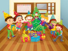 kids in class room - stock illustration