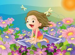 girl on a mat - stock illustration