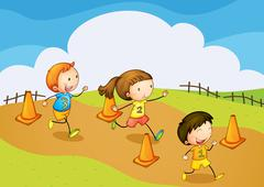 Kids running Stock Illustration