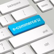 E-commerce concept with computer keyboard Stock Illustration