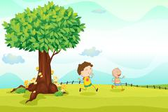 Kids playing football Stock Illustration