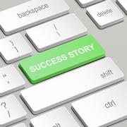 Success story concept with computer keyboard Stock Illustration