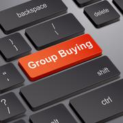 Group buying concept with computer keyboard Stock Illustration