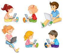 Mixed kids Stock Illustration