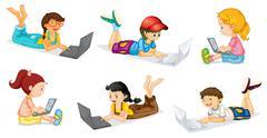 Laptops and Kids - stock illustration