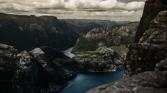 1080p, epic and dramatic time lapse of preikestolen in norway - stock footage
