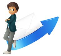 Stock Illustration of boy, arrow and envelope