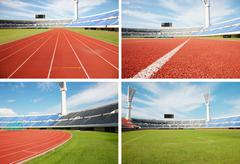 stadium and race track - stock illustration
