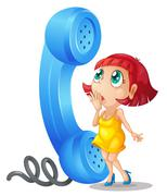 Girl and phone receiver - stock illustration