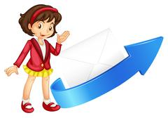 Stock Illustration of girl, arrow and envelop