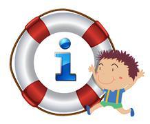 boy and lifesaver floating - stock illustration