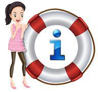 Girl and lifesaver floating Stock Illustration