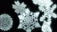 Big Christmas snowflakes loop. Black version. - stock footage