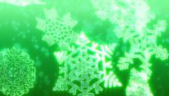 Big Christmas snowflakes loop. Green version. Stock Footage