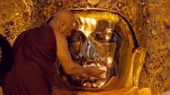 Morning Ritual of Face Cleansing of Mahamuni Buddha, Mandalay, Myanmar (Burma) - stock footage