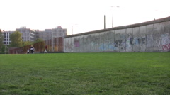 Remaining pieces of the Berlin Wall in Germany - stock footage