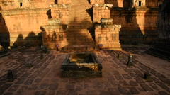 Pan Up of Ancient Temple in the Morning - Angkor Wat Cambodia Stock Footage