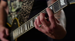 Playing electric guitar - close up of frets 4K Stock Footage