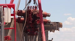 Drilling Rig Crew Setting up Rig 16 Stock Footage