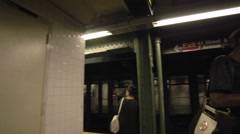 Subway Photobomb New York City NYC Train Station Platform 4K Stock Footage