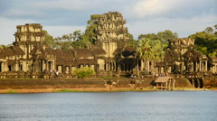 Time Lapse - Tourists Walking at the Main Temple - Angkor Wat Temple Stock Footage