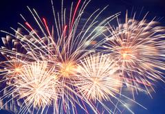 Beautiful fireworks show Stock Photos