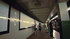 Subway Entering 6 Train Station Platform New York City NYC Astor Place 4K Stock Footage
