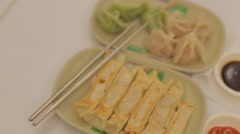 Pan - gyoza and boiled dumplings Stock Footage