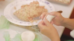 People hand making a dumpling Stock Footage