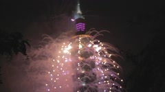 Taipei 101 Nye 2014 fireworks in slow motion Stock Footage