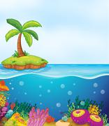 Stock Illustration of coral and palm tree on island