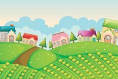 colony of houses in nature - stock illustration
