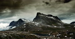 4k, epic and dramatic time lapse of trollstigen area in norway Stock Footage