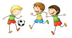 boys playing football - stock illustration