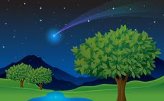 Stock Illustration of tree and comet