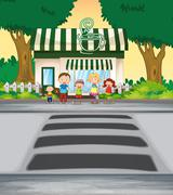 Family crossing road near coffee shop Stock Illustration