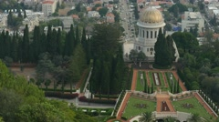 Haifa - Israel - Lower City / Baha'i Gardens - 25P - UHD 4K Stock Footage