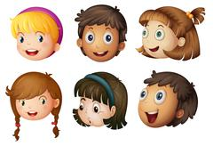 kids faces - stock illustration