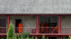 Monks living in temple Stock Footage