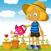 Stock Illustration of a girl watering plants